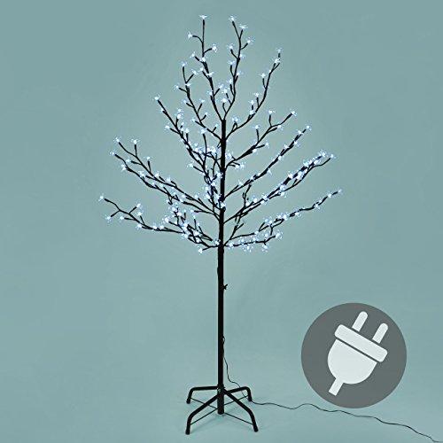 200 LED Baum mit Blüten Blütenbaum Lichterbaum weiß 150 cm hoch Trafo Weihnachtsbeleuchtung Außenbeleuchtung IP44 Xmas Gartendeko