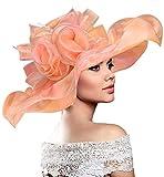 Dafunna Hut Damen Sommer, Organza Damen Hut Sommerhut für Strandhut, Kirche, Party & Hochzeit, Elegant Sonnenhut Orange Fascinator, faltbar hüte Damen