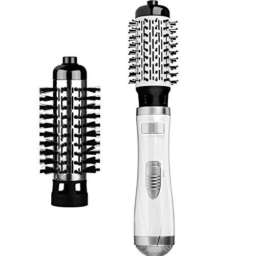 Warmluftbürste Brush FAMINESS Rotierende Heißluftbürste mit 2 Aufsätzen, Volumen Rundbürste One-Step 2 in 1 Haarstyler StylingbüRsten Elektrische Ionisch LockenbüRste 1000 Watt