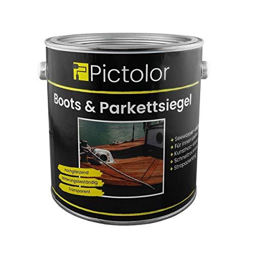 Pictolor Boots- und Parkettsiegel 2,5 Liter   Bootslack   Yachtlack   Holzlack   Parkettlack - Hochglänzend - Witterungsbeständig - Transparent