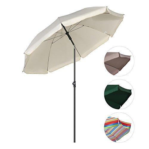 Sekey Sonnenschirm 200 cm Marktschirm Gartenschirm Terrassenschirm Creme Rund Sonnenschutz UV25+