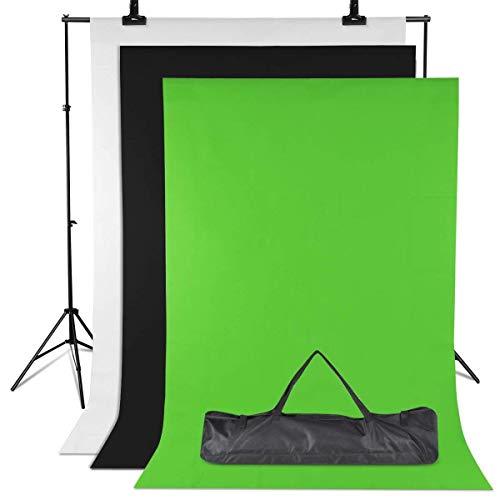 Amzdeal Hintergrund Ständer-Support-System 3m * 2m, 3pcs 2m × 1.6m Hintergründe Grünes/Weißes/Schwarzes Stativ Einstellbar von 65-200cm Hintergründe für Fotografie Portrait ObjektAufnahmevideo