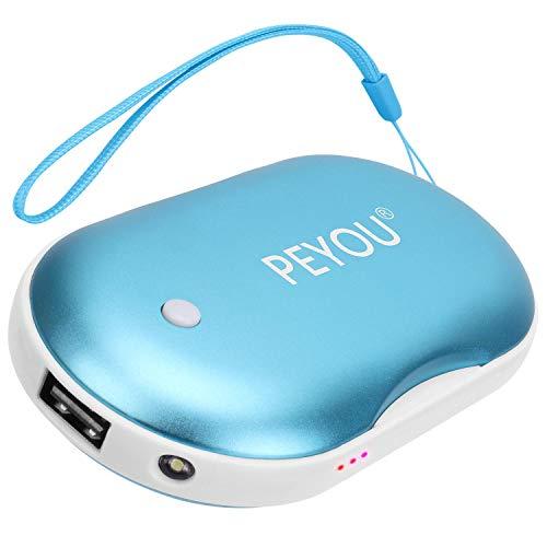 PEYOU Handwärmer USB, Wiederaufladbare Powerbank mit LED Taschenlampe Große Kapazität und doppelseitige Heizung für Mädchen, Männer, 5200 mAh Externe Backup Ladegerät Akku für Smartphones