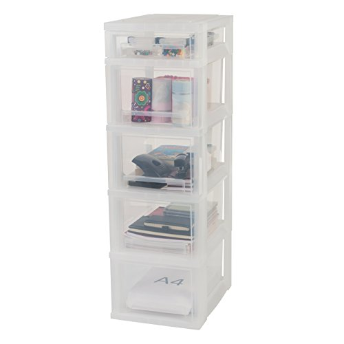 Iris, Schubladenschrank/Schubladenbox / Rollwagen/Rollcontainer / Werkzeugschrank 'Smart Drawer Chest', SDC-314, mit Rollen, Kunststoff, Schwarz/Transparent