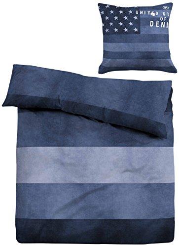 TOM TAILOR 49467/807/001 Linon Bettwäsche Nos 'Jeans', 135 x 200 cm und 80 x 80 cm, nach Öko-Tex Standard 100, indigo blau