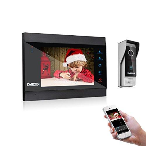 TMEZON WLAN Video Türsprechanlage Türklingel Gegensprechanlage System,7 Zoll WLAN Monitor mit Verdrahteter Kamera im Freien Für 1-Familienhaus, Fernbedienung Türöffner und App,Sprechen und Anzeigen, Aufnehmen, Schnappschuss,Nachtsicht