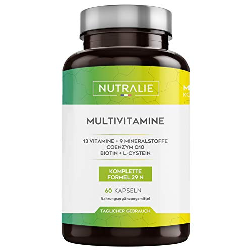 Multivitamin-Kapseln 29 essentielle Nährstoffe | Vitamine A, B, C, D, E, K, Biotin, L-Cystein, Coenzym Q10 und 9 Mineralstoffe | Multivitamin-Komplex 60 Kapseln | Nutralie