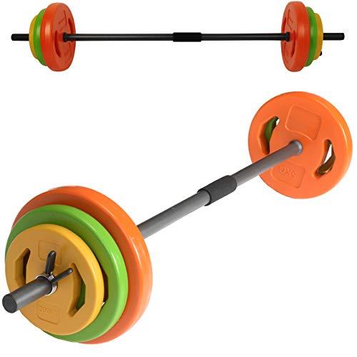 bonsport Aerobic Langhantel Set 20 kg - Hantelset mit Langhantelstange und 6 Gewichten