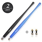 iBuger Eingabestifte Touchpen Stylus für Smartphone Touchscreen Tablet Android Samsung Iphone Apple Ipad mit 2 x Fiber Tips -Schwarz /Blau