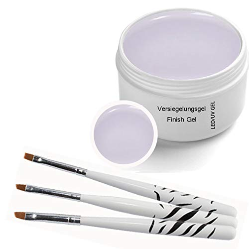 UV Versiegelungsgel, UV Gel 30ml inkl. 3 tlg Pinselset