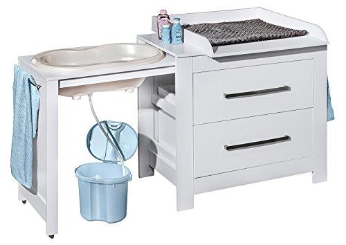 Belivin 3in1 Wickelkommode weiß   Wickeltisch weiß   ausziehbare Badewanne   umbaubar zur normalen Kommode   große Schubladen   inkl. extra großen abnembaren Wickelaufsatz   besonders stabil