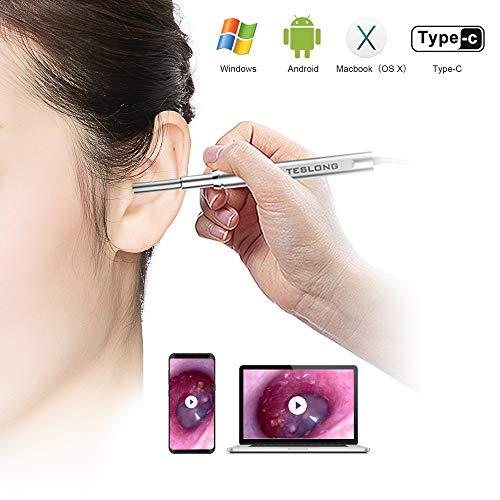 Teslong Otoskop 4,3mm Inspektionskamera IP67 Wasserdichte Ohrenspiegel mit 6 Einstellbare LED-Leuchten für Android Mac und PC