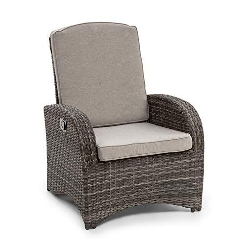 blumfeldt Comfort Siesta Sessel - stufenlos verstellbare Rückenlehne, Material Bezug: Polyester, Polsterung mit 8 cm Dicke, platzsparend zusammenlegbar, Gasdruckfeder, dunkelgrau