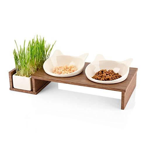 CanadianCat Company  | Futterbar Cat Diner für Katzen mit dritter Schale für z.B. Katzengras o. Trockenfutter im Holzoptikständer Napf, Fressnapf, Futterschale
