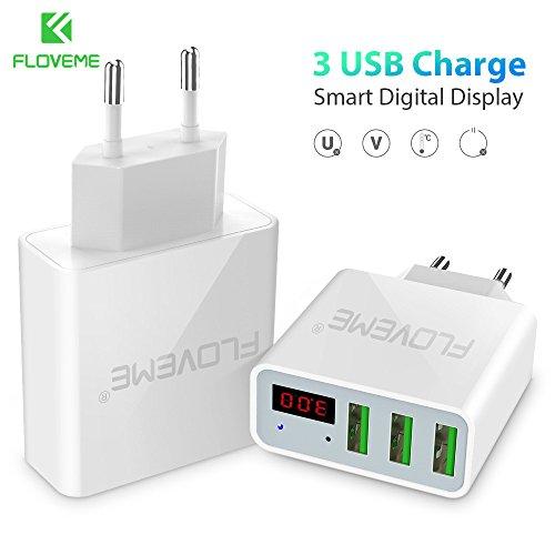 3-Port USB schnelle Echtzeitüberwachung Strom und Spannung Ladegerät, Reiseladegerät Adapter (Europäische Normen)