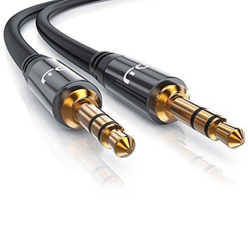 CSL - 3m Audio AUX Klinkenkabel / Verbindungskabel für AUX Eingänge | Voll-Metallstecker passgenau | 3.5mm Stecker auf 3.5mm Stecker | 3,5mm Audiokabel HQ Premium Series