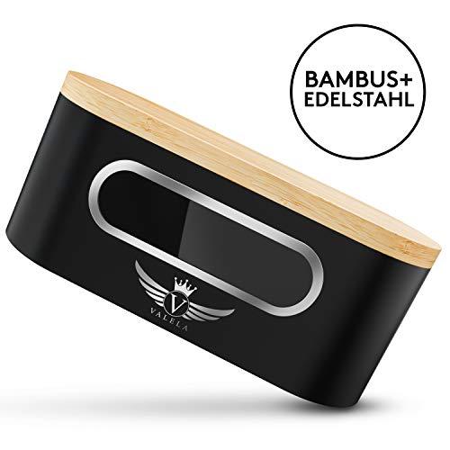 VALELA EINFÜHRUNGSANGEBOT Brotkasten - Brotbox zur Lagerung von Gebäck & Kuchen Hochwertige Brotdose für die Küche Holz Alu Brotbehälter + Schneidebrett