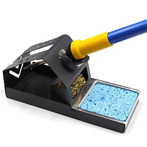 Lötkolben-Ständer aus Zinklegierung, stabil, T12 Schweißlötkolben-Halter mit Messingdraht, Kugelspitzenreiniger Schwamm
