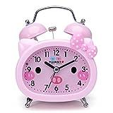 Plumeet Doppelglockenwecker für Kinder, Lautloser Cartoon Quarz-Wecker für Mädchen, niedlich, in Handgröße, Hintergrundbeleuchtung, batteriebetrieben (Pink)