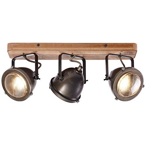 Spotbalken, 3-flammig, 3x GU10 max. 5W, Metall/Holz, burned steel/holz