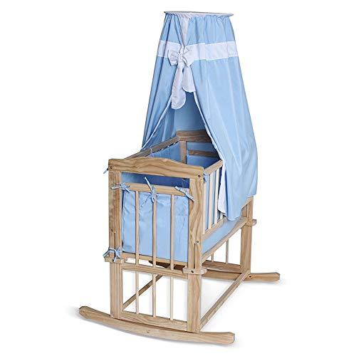 dibea BB00430, Babybett, klassiches Himmelbett (80x40 cm) mit Kufen & Rollen, Set mit Bettdecke/Kopfkissen & Himmel (blau)