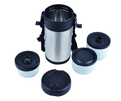 Mack Thermobehälter 1L dopelwandig Edelstahl Foodbehälter Isolierbehälter Warmehaltebox Isolierbehälter Box inklusiv 3 Kleine Behälter mit Drei Einsätzen