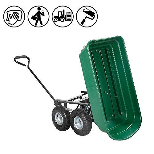 FROADP Handwagen Gartenkarre Kunststoff Kippwagen mit geschlossener Ladefläche Transportwagen bis 300KG für Garten Baustelle usw