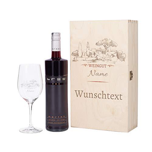Herz & Heim Weinset - Motiv Weingut - mit graviertem Weinglas und Bree Wein zur Auswahl in Premium Geschenkverpackung Rot