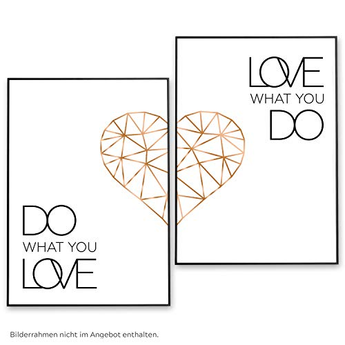 POSTER-SET mit Spruch DO WHAT YOU LOVE 50x70 mit Herz in Rose-Gold - BILDER-SET XXL Typographie - WAND-BILD - STATEMENT Zitat Sprüche Schriftzug Liebe - WAND-DEKORATION schwarz weiß - WAND-DEKO