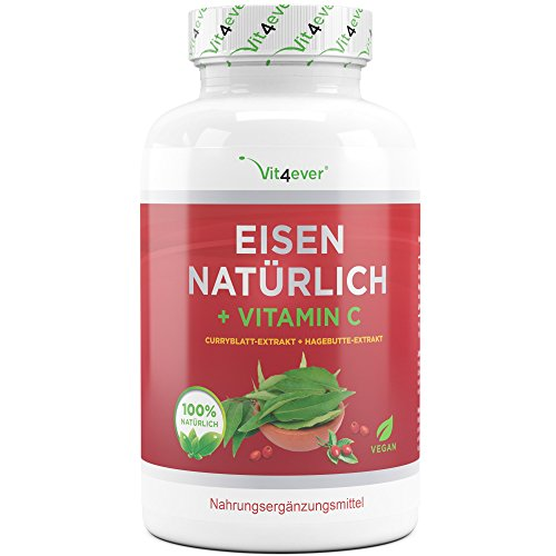 Eisen Natürlich + Vitamin C - 180 Kapseln - Curryblatt-Extrakt & Hagebutte-Extrakt - 28 mg Eisen + 160 mg Vitamin C pro Tagesportion (2 Kapseln) - Eisentabletten - Vegan - Hochdosiert