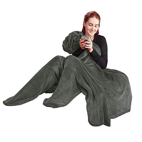 CelinaTex TV-Decke Kuscheldecke mit Ärmel und Fuß Tasche XL 170 x 200 cm grau Coral Fleece Tagesdecke Mikrofaser