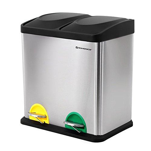 SONGMICS Mülleimer Abfallbehälter Abfalleimer mit Inneneimer Mülltrennsysteme Treteimer Edelstahl (30 Liter 2x15L, Gefärbt)