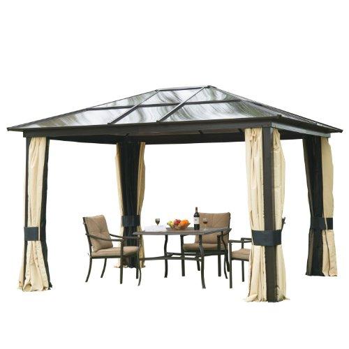 Outsunny Luxus Pavillon Gartenpavillon Alu Partyzelt Gartenzelt mit lichtdurchlässigem PC Dach
