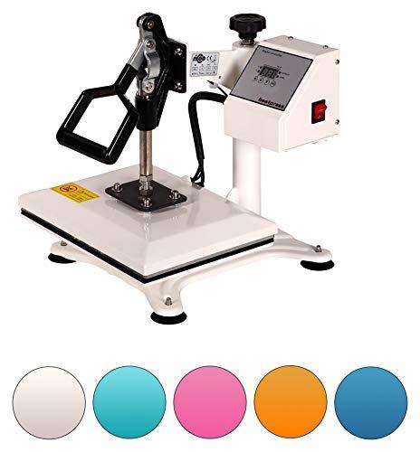 RICOO Power Zwerg-TW Transferpresse Textilpresse Textildruckpresse Schwenkbar Thermopresse Transferdruck Bügelpresse Textil T-Shirtpresse Sublimationspresse für Flexfolie und Flockfolie   Weiß