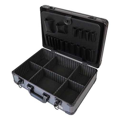 HMF 14601-02 Alu Werkzeugkoffer leer, verstellbare Facheinteilung, 46 x 15 x 33 cm
