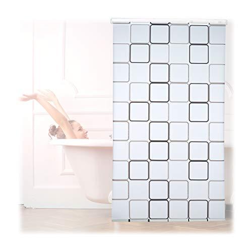 Relaxdays Duschrollo Square, wasserabweisend, Retro Badrollo Wanne u. Dusche, Deckenmontage, 120x240cm, semitransparent