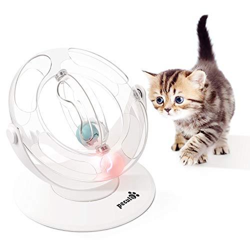 Pecute Katzenspielzeug Bälle Trackball mit 360°raumdrehendem Bahn, SpielzeugBälle, Ausgestattet mit Glocke, Cool leuchtender GlockenBälle, Katzenminze-Bälle