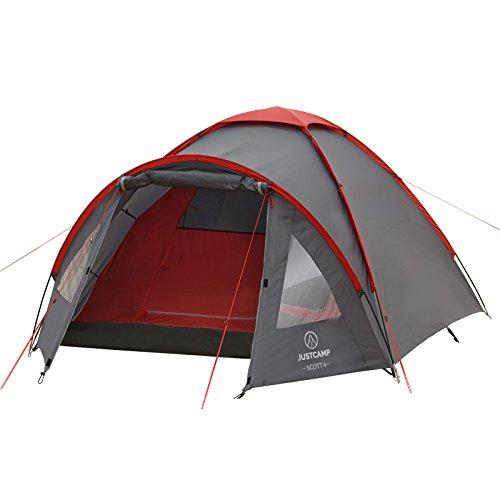 Campingzelt Justcamp Scott 4, mit Vorraum; Iglu-Zelt für 4 Personen (doppelwandig) - grau