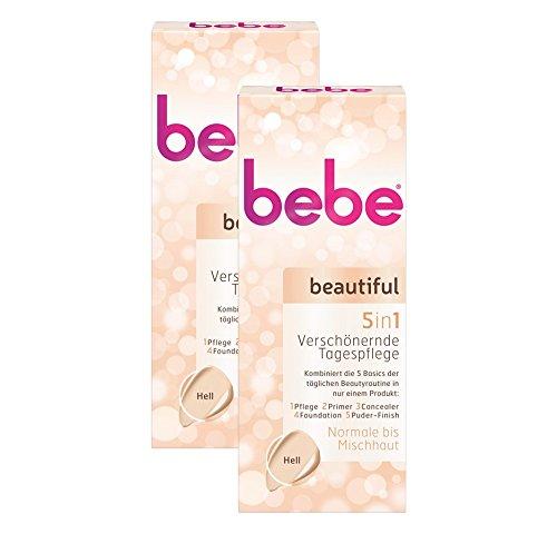 bebe beautiful 5in1 Verschönernde Tagespflege Hell / Getönte Tagescreme für Normale und Mischhaut / 2 x  50 ml