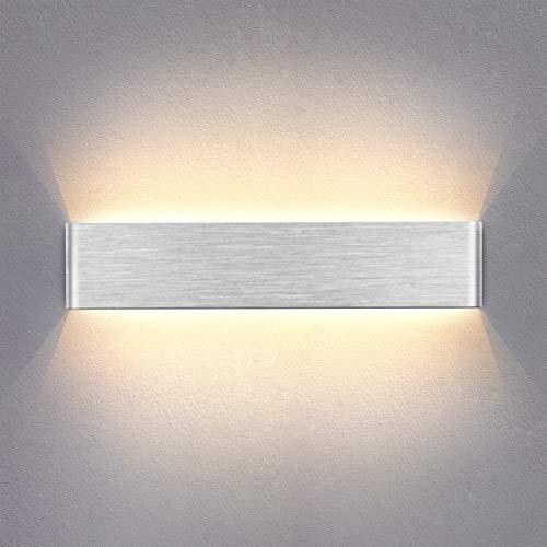 Yafido Wandlampe Innen 14W LED Wandleuchte Up Down Wandbeleuchtung AC 230V Warmweiß Silber gebürstet für Schlafzimmer Wohnzimmer Bad Flur Treppen 40CM
