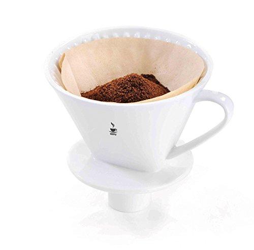 Gefu 16020 Kaffee-Filter Sandro, Größe 4 aus weißem Porzellan - Wiederverwendbarer Handfilter für aromatischen Kaffee