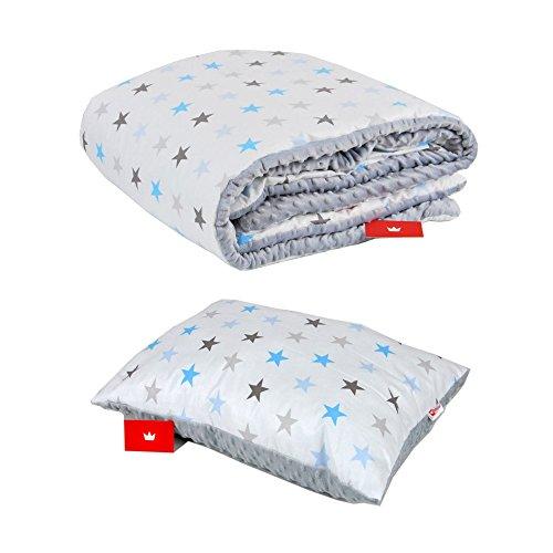 BABYLUX Kuscheldecke 100 x 150 cm Decke Babydecke Kinderdecke MINKY XXL (4. Grau + Sterne mit Kissen)