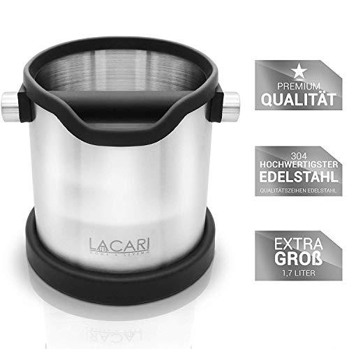 Lacari  Premium Abschlagbehälter - Perfekt Für Espresso Kaffeemaschine - Hochwertiger Abklopfbehälter Aus Edelstahl - Kaffe Zubehör Für Siebträger - Abschlagbox Für Saubere Entsorgung Von Kaffeesatz