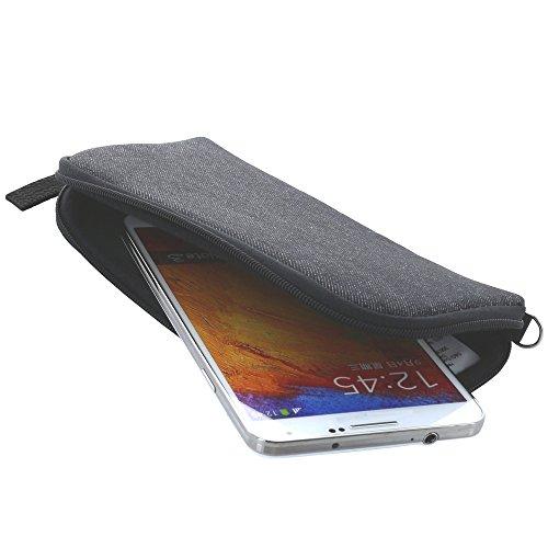 Handyhülle mit Handschlaufe 7.2 - universal Größe 3XL für Huawei Honor 6x 7x Mate 9 / 10 Pro / Lite / View 10 - Handytasche schwarz/grau
