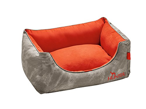 HUNTER Hundesofa Belfast, mit Kunstleder, 60x40 cm, grau/orange