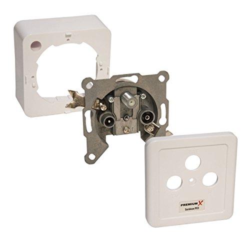 PremiumX PX3 Antennendose 3-Fach Enddose Antennen-Dose Einzel und Stichleitungsdose Aufputz Unterputz SAT-TV-RADIO HD Multimediadose