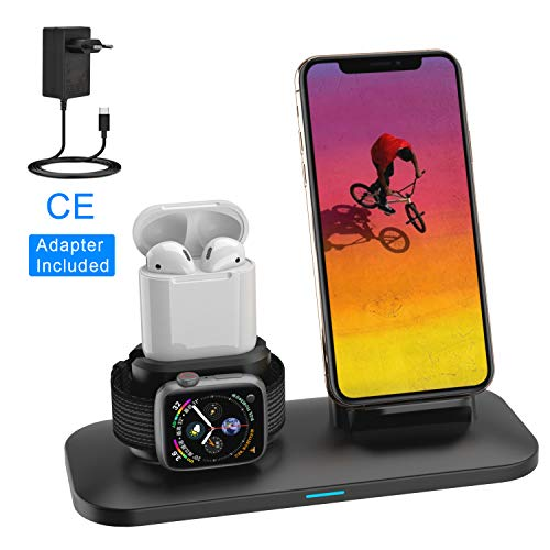 SIMPFUN Ständer Kompatibel für Apple Watch, Serie 4,3,2,1, Airpods, 7.5W Fast Wireless Charger Ständer Qi Ladegerät 3 in 1 Ladestation für iPhone XS/XR/X/ 8/8 Plus Samsung Qi-fähigen Geräte