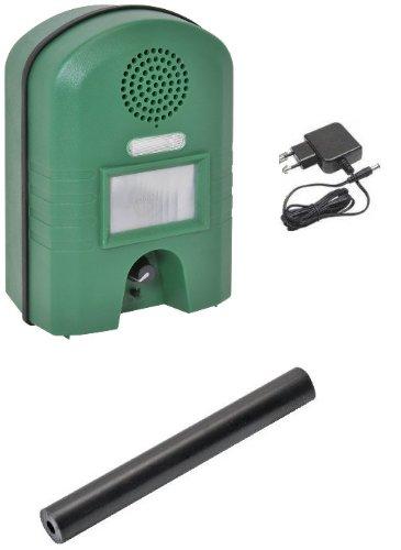 Ultraschall Vertreiber mit Bewegungsmelder & BLITZ - Marderschreck , Katzenschreck , Tierschreck , Waschbären inkl. Netzteil und Erdstab