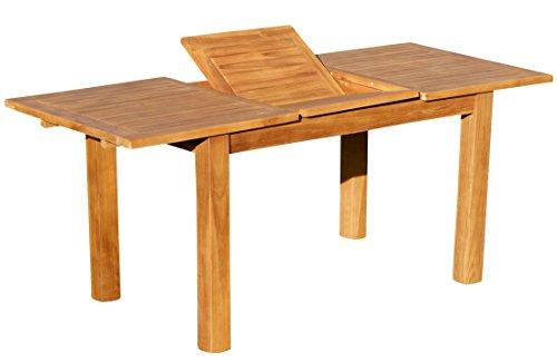 ASS ECHT Teak Bigfuss Design Gartentisch 80x80 140x80 180x90 Auszietisch 130-180x80 cm mit dicken Füßen, Größe:130-180 ausziehbar x 80 cm