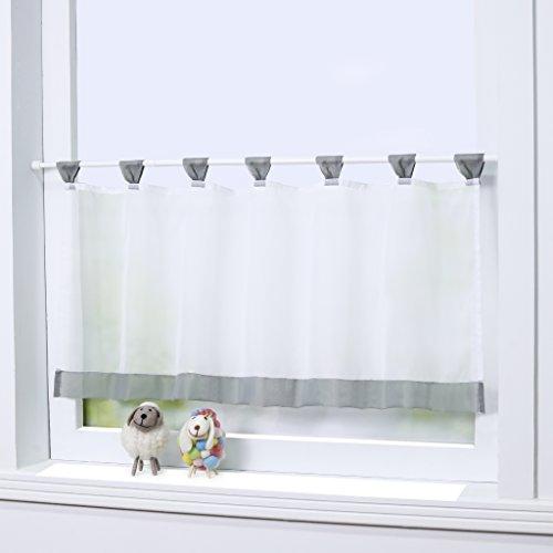 Joyswahl Bistrogardine Voile Schlaufen Scheibengardine 'Mia' Küchen Transparenter Vorhang HxB 45x90cm Grau 1er Pack
